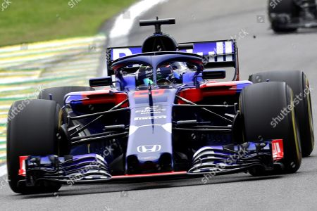 New Zealander Formula One driver Brendon Hartley of Toro Rosso in action during the second practice session of the 2018 Formula One Grand Prix of Brazil at the Interlagos racetrack in Sao Paulo, Brazil, 09 November 2018. The Brazil Formula One Gran Prix takes place on 11 November 2018.