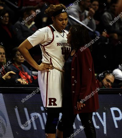 Piscataway, New Jersey, U.S. - Rutgers Scarlet Knights head coach C. Vivian Stringer give instructions to center Jordan Wallace (44) during a game between the Rutgers Scarlet Knights and the Stony Brook Seawolves at Rutgers Athletic Center in Piscataway, New Jersey. Rutgers defeated Stony Brook 61-47