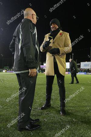 Haringey Chairman Aki Achillea speaks with BBC pundit Dion Dublin during Haringey Borough vs AFC Wimbledon, Emirates FA Cup Football at Coles Park Stadium on 9th November 2018