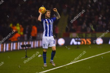 Ashley Baker of Sheffield Wednesday (24) takes a throw in during the EFL Sky Bet Championship match between Sheffield United and Sheffield Wednesday at Bramall Lane, Sheffield