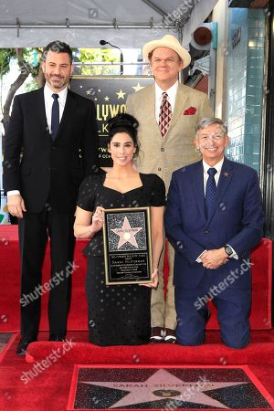 US TV host Jimmy Kimmel, US actress Sarah Silverman, US actor John C Reilly and Leron Gubler during a ceremony honoring Silverman with a star on the Hollywood Walk of Fame in Hollywood, California, USA, 09 November 2018. Silverman received the 2,649th star in the Television category.