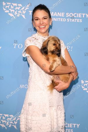 Sutton Foster walks the red carpet at The Humane Society of the United States To the Rescue! New York Gala on in New York City. To the Rescue! is a benefit in celebration of the life-saving work of its animal rescue efforts across the nation and around the world. In its ninth year, the event honored Katie Sturino and Toast as well as Gucci and Golden Globe and Emmy Award-winning comedian, actor and director Ricky Gervais. The evening featured performances by Broadway's Erich Bergen and Sutton Foster