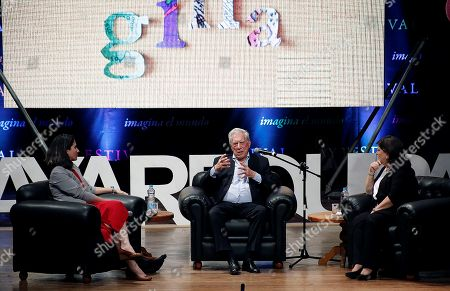 Cuban journalist Yoani Sanchez (L), Spanish-Peruvian writer Mario Vargas Llosa (C) and Peruvian journalist Rosa Maria Palacios (R) participate in a talk at the Hay Festival in Arequipa, Peru, 09 November 2018. Vargas Llosa revealed today that his next novel will be inspired by a story that happened in Guatemala.