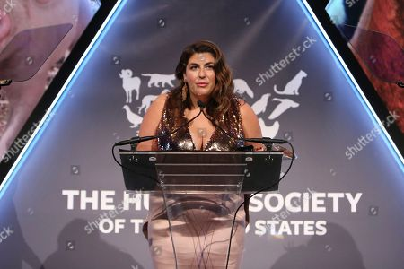 Katie Sturino accepts an award at the The Humane Society of the United States To the Rescue! New York Gala on in New York City. To the Rescue! is a benefit in celebration of the life-saving work of its animal rescue efforts across the nation and around the world. In its ninth year, the event honored Katie Sturino and Toast as well as Gucci and Golden Globe and Emmy Award-winning comedian, actor and director Ricky Gervais. The evening featured performances by Broadway's Erich Bergen and Sutton Foster
