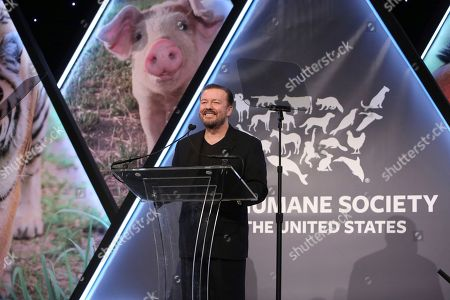 Ricky Gervais speaks at the The Humane Society of the United States To the Rescue! New York Gala on in New York City. To the Rescue! is a benefit in celebration of the life-saving work of its animal rescue efforts across the nation and around the world. In its ninth year, the event honored Katie Sturino and Toast as well as Gucci and Golden Globe and Emmy Award-winning comedian, actor and director Ricky Gervais. The evening featured performances by Broadway's Erich Bergen and Sutton Foster