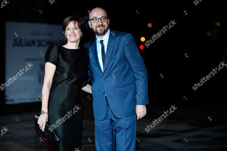 Belgian Prime Minister Charles Michel (R) and his partner Amelie Derbaudrenghien arrive at the official dinner on the eve of the international ceremony for the Centenary of the WWI Armistice of 11 November 1918 at the Orsay museum in Paris, France, 10 November 2018. Heads of State and Government commemorate the memory of their fallen soldiers in France.