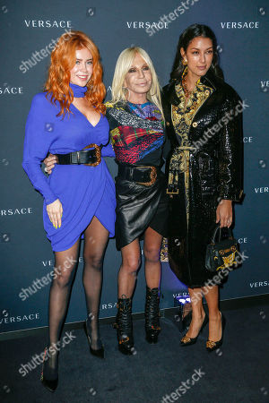 Palina Rojinski, Donatella Versace and Rebecca Mir