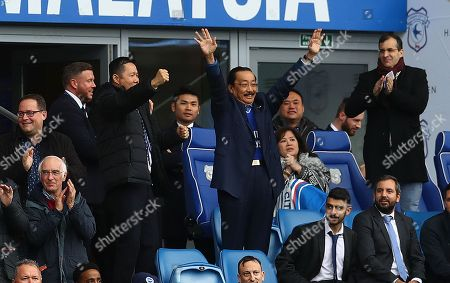 Vincent Tan celebrates the goal by Sol Bamba of Cardiff City