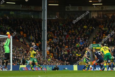 Ben Amos of Millwall saves a headed effort from Timm Klose of Norwich City - Norwich City v Millwall, Sky Bet Championship, Carrow Road, Norwich - 10th November 2018