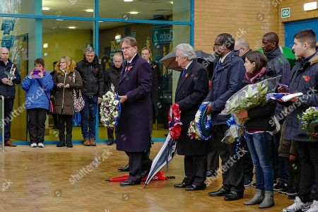 Stock Image of General view outside the stadium with John Madejski preparing to lay a wreath during the EFL Sky Bet Championship match between Reading and Ipswich Town at the Madejski Stadium, Reading