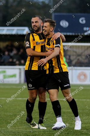 Jack Powell (right) celebrates scoring Maidstone United's opening goal with Simon Walton during Maidstone United vs Macclesfield Town, Emirates FA Cup Football at the Gallagher Stadium on 10th November 2018