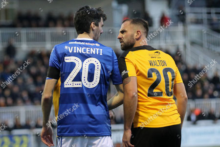 Peter Vincenti of Macclesfield and Maidstone's Simon Walton exchange words during Maidstone United vs Macclesfield Town, Emirates FA Cup Football at the Gallagher Stadium on 10th November 2018