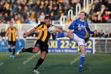 Ben Stephens of Macclesfield clears the ball just as Maidstone's Simon Walton was preparing to shoot during Maidstone United vs Macclesfield Town, Emirates FA Cup Football at the Gallagher Stadium on 10th November 2018