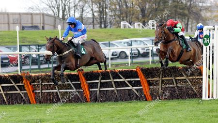 Quoi De Neuf and Leighton Aspell win the EBF Stallions National Hunt Novices' Hurdle at Aintree from Redzor.