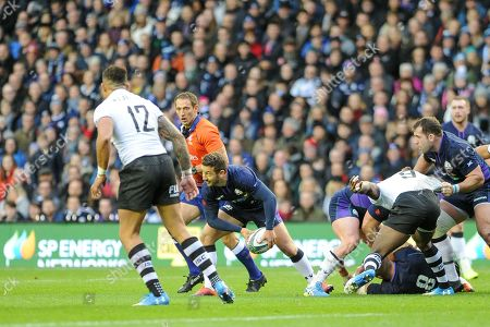 Greg Laidlaw on the ball during the 2018 Autumn Test match between Scotland and Fiji at Murrayfield, Edinburgh
