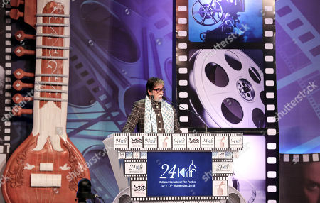 Bollywood actor Amitabh Bachchan delivers his lecture during the opening ceremony of the 24th Kolkata International Film Festival, in Kolkata, India, 10 November 2018. This year Bengal cinema celebrates its 100-year anniversary. The festival runs from 10 to 17 November.
