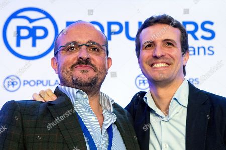 People's Party (PP) President Pablo Casado (R) with Alejandro Fernandez (L), new President of Catalonian People's Party (PPC), during a extraordinary meeting of PPC held in Sitges, Catalonia, Spain, 10 November 2018.