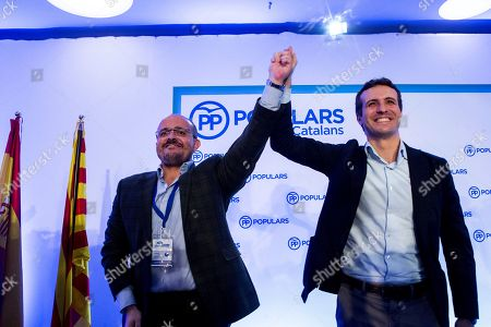 People's Party (PP) President Pablo Casado (R) waves with Alejandro Fernandez (L), new President of Catalonian People's Party (PPC), during a extraordinary meeting of PPC held in Sitges, Catalonia, Spain, 10 November 2018.