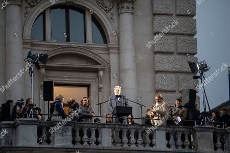 Stock Image of Austrian actor Peter Simonischek attends the European Balcony Project at the balcony of the Burgtheater in Vienna, Austria, 10 November 2018. European artists and intellectuals proclaimed a 'European Republic' simultaneously from balconies, theaters and public spaces in dozens of cities across the continent at 4pm on 10 November. The aim is to spark a debate about European democracy and what it means to be European citizens. The European Balcony Project was initiated by the European Democracy Lab think tank and took place for the first time.