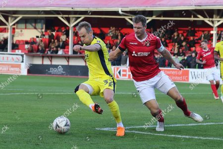 Luke Varney and Dave Winfield  during the The FA Cup 1st round match between Ebbsfleet and Cheltenham Town at Stonebridge Road, Ebsfleet