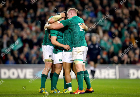 Ireland vs Argentina. Ireland's Luke McGrath celebrate scoring a try with Bundee Aki, Peter O'Mahony and Dan Leavy
