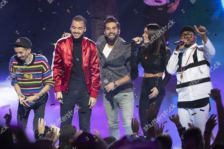 Florian Ordonez & Olivio Ordonez, Kendji Girac, Jenifer, Black Eyed Peas (Apl.De.Ap) perform at the 20th NRJ Music Awards ceremony