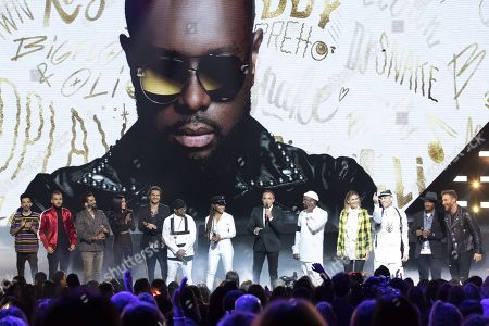 Florian Ordonez & Olivio Ordonez, Kendji Girac, Jenifer, Soprano, Amir, Black Eyed Peas (Apl.De.Ap, Jessica Reynoso, Will.I.Am, Taboo), Nikos Aliagas, Vitaa, Soprano, David Guetta, at the 20th NRJ Music Awards ceremony