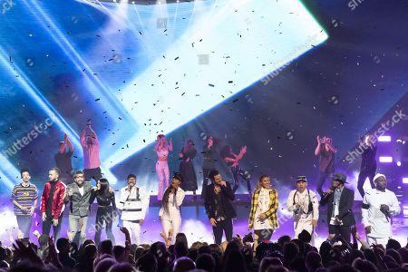 Florian Ordonez & Olivio Ordonez, Kendji Girac, Jenifer, Soprano, Amir, Black Eyed Peas (Apl.De.Ap, Jessica Reynoso, Will.I.Am, Taboo), Nikos Aliagas, Vitaa, Soprano, perform at the 20th NRJ Music Awards ceremony