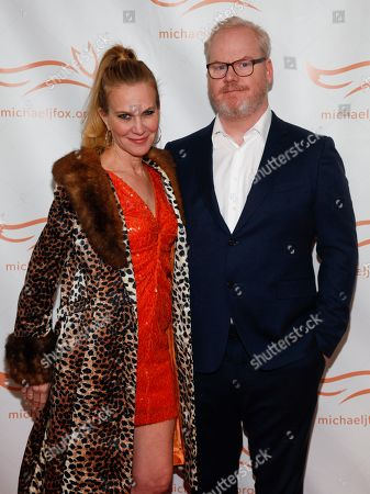 Jeannie Gaffigan, Jim Gaffigan. Jeannie Gaffigan, left, and Jim Gaffigan, right, attend the Michael J. Fox Foundation 2018 benefit gala at the New York Hilton Midtown, in New York