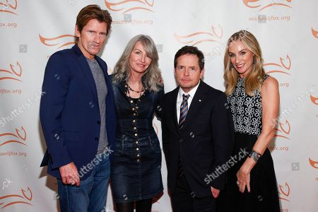Denis Leary, Ann Leary, Michael J. Fox, Tracy Pollan. Denis Leary, from left, Ann Leary, Michael J. Fox and Tracy Pollan attend the Michael J. Fox Foundation 2018 benefit gala at the New York Hilton Midtown, in New York