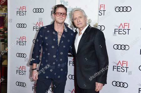 """Cameron Douglas, Michael Douglas. Cameron Douglas, left, and Michael Douglas attend the world premiere of """"The Kominsky Method"""" during the 2018 AFI Fest at the Egyptian Theatre, in Los Angeles"""