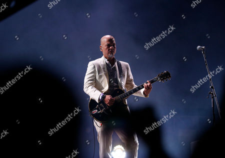 Joey Santiago of the rock band The Pixies performs in Mexico City's main square, The Zocalo