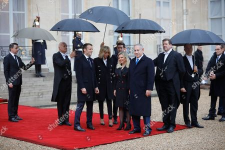 Israeli Prime Minister Benyamin Netanyahu (R) welcomed by French President Emmanuel Macron (L) at the Elysee Palace ahead of the international ceremony for the Centenary of the WWI Armistice of 11 November 1918, in Paris, France, 11 November 2018. World leaders have gathered in France to mark the 100th anniversary of the First World War Armistice with services taking place across the world to commemorate the occasion.