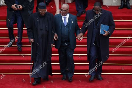 (L-R) Chad's President Idriss Deby Itno, Mali's President Ibrahim Boubacar Keita and Senegalese President Macky Sall leave the official lunch following the international ceremony for the Centenary of the WWI Armistice of 11 November 1918, at the Elysee Palace, in Paris, France, 11 November 2018. World leaders have gathered in France to mark the 100th anniversary of the First World War Armistice with services taking place across the world to commemorate the occasion.