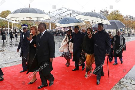 (L-R) Ivory Coast's President Alassane Ouattara and his wife Dominique Ouattara, Republic of the Congo's President Denis Sassou Nguesso and his wife Antoinette Sassou Nguesso and Tchad's President Idriss Deby and his wife Hinda Deby Itno arrive for the international ceremony for the Centenary of the WWI Armistice of 11 November 1918 at the Arc de Triomphe, in Paris, France, 11 November 2018. World leaders have gathered in France to mark the 100th anniversary of the First World War Armistice with services taking place across the world to commemorate the occasion.