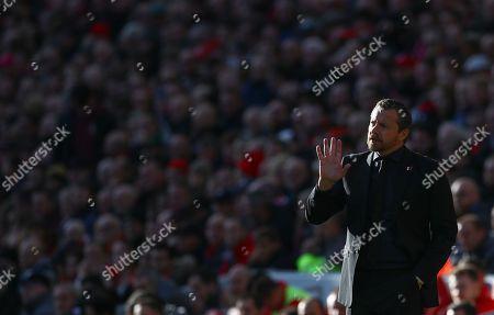 Stock Photo of Fulham manager Slavisa Jokanovic gestures on the touchline