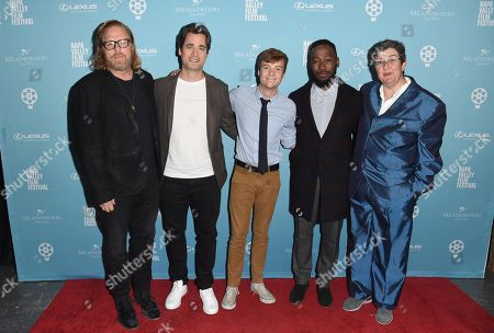 Matthew Carnahan, Stephan Paternot, John Karna, Lamorne Morris, and Tara Hernandez attend the 2018 Napa Valley Film Festival, Valley Of The Boom Screening, held at the Lincoln Theatre