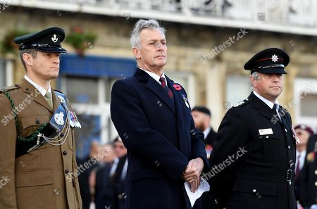 Remembrance Sunday service and parade in Weymouth, Dorset, UK. Richard Drax MP