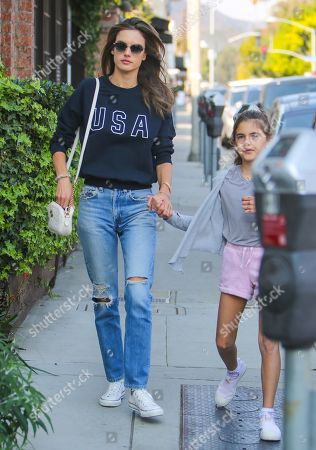 Stock Picture of Alessandra Ambrosio and daughter Anja Louise Mazur