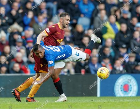 Aaron Taylor-Sinclair of Motherwell challenges Alfredo Morelos of Rangers