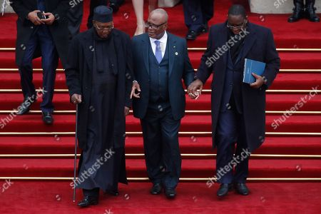 100th anniversary commemoration of the Armistice, in Paris. Chad's President Idriss Deby Itno, Mali's President Ibrahim Boubacar Keita and Senegalese President Macky Sallafter a lunch at the Elysee Palace in Paris . French President Emmanuel Macron hosted 130 world leaders and dignitaries for lunch at the presidential Elysee Palace afer the ceremony commemorating the armistice that ended World War I has finished