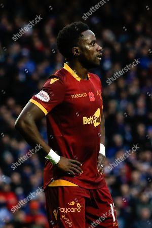 Gael Bigirimana of Motherwell is shown the red card following a handball in the area during the Ladbrokes Scottish Premiership match between Rangers and Motherwell at Ibrox, Glasgow