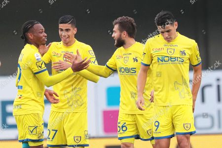 Stock Photo of Chievo's Joel Obi (L) celebrates with his teammates after scoring the 2-1 lead during the Italian Serie A soccer match between AC Chievo Verona and Bologna FC in Verona, Italy, 11 November 2018.