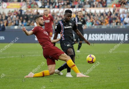 Roma's Gianmarco Cangiano, left, and Sampdoria's Ronaldo Vieira vie for the ball during a Serie A soccer match between Roma and Sampdoria, at the Rome Olympic stadium