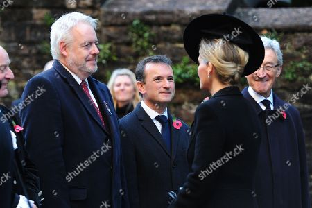 Sophie Countess of Wessex (right) is greeted by First Minister for Wales Carwyn Jones (left) in front of Alun Cairns (C) at Llandaff Cathedral
