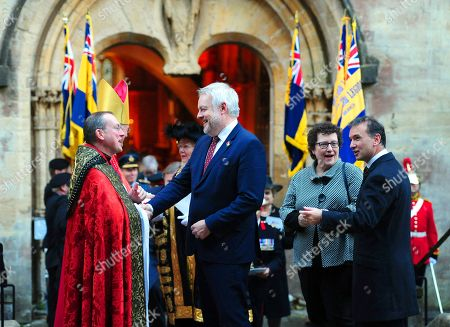 Carwyn Jones, First Minister of Wales leaves Llandaff Cathedral
