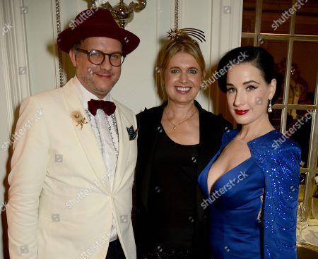 Simon Fowler Grant, Jenny Packham and Dita Von Teese