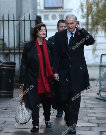 Tony Blair, Former Prime Minister, and wife Cherie Blair, in Downing Street on the way to the Remembrance Sunday ceremony at the Cenotaph in Whitehall.
