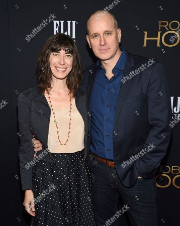 """Carolyn Hall, Kelly AuCoin. Actor Kelly AuCoin and wife Carolyn Hall attend a special screening of """"Robin Hood"""" at AMC Loews Lincoln Square, in New York"""