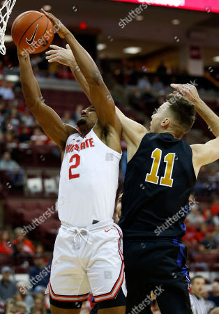 Ohio State guard Musa Jallow, left, works for a rebound against Purdue Fort Wayne forward Dylan Carl during an NCAA college basketball game in Columbus, Ohio, . Ohio State won 107-61